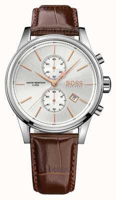 Hugo Boss 男士喷射棕色皮革计时显示 1513280EX-DISPLAY