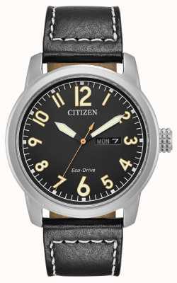 Citizen 男士生态驱动黑色皮革钱德勒 BM8471-01E