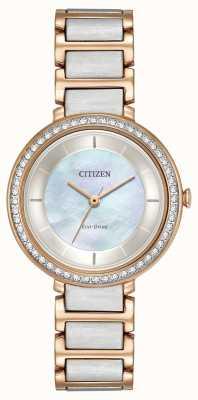 Citizen 女人生态驱动轮廓水晶双色玫瑰金 EM0483-89D