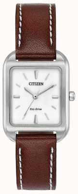 Citizen 女人生态驱动轮廓棕色皮革 EM0490-08A