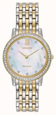 Citizen 女人生态驱动轮廓水晶双色金 EX1484-57D