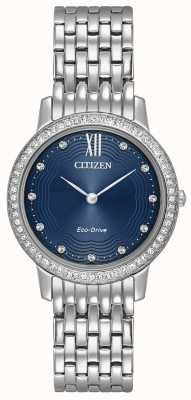 Citizen 女人生态驱动轮廓水晶蓝 EX1480-58L