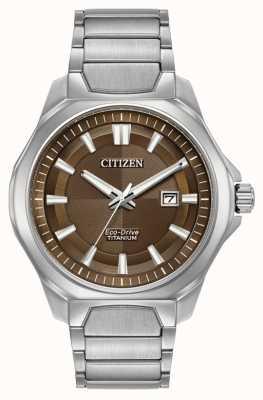 Citizen 男士生态驱动超级钛棕色表盘手表 AW1540-88X