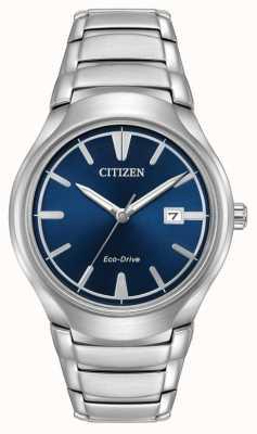 Citizen 男士生态驱动范例蓝色 AW1550-50L