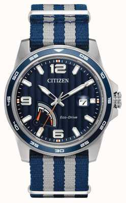 Citizen 男士生态驱动动力储备蓝色织物手表 AW7038-04L