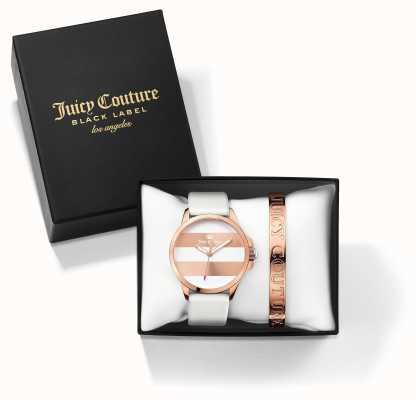 Juicy Couture 女人白色玫瑰金手镯手表礼物套装 1950007