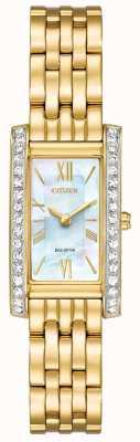 Citizen 女士们公民剪影水晶生态驱动器镀金黄金pvd EX1472-81D