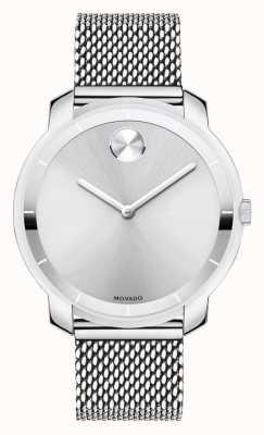 Movado 大号中型不锈钢网眼手链K1水晶 3600241