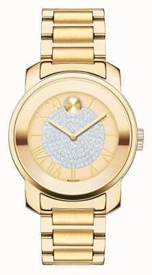 Movado 大胆的中型奢华黄金离子镀k1晶体套装 3600255