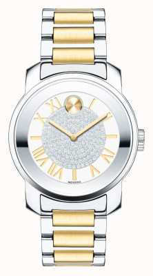 Movado 大胆的中型奢华双色银金K1水晶 3600256
