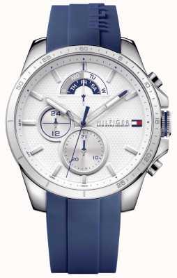 Tommy Hilfiger 男装蓝色橡胶白色计时码表 1791349