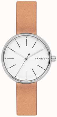 Skagen 女人签名浅棕色真皮白色表盘 SKW2594