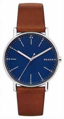 Skagen 男士签名棕色真皮表带蓝色表盘 SKW6355