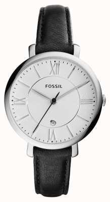 Fossil 女人jacqueline银色表盘黑色皮革 ES3972