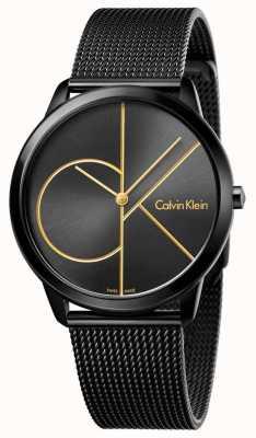 Calvin Klein 男士最小黑色不锈钢网布 K3M214X1