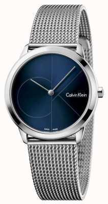 Calvin Klein 女人最小的不锈钢网蓝色表盘 K3M2212N