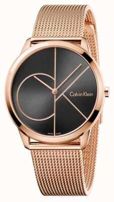 Calvin Klein 男士简约玫瑰金网眼黑色表盘 K3M21621
