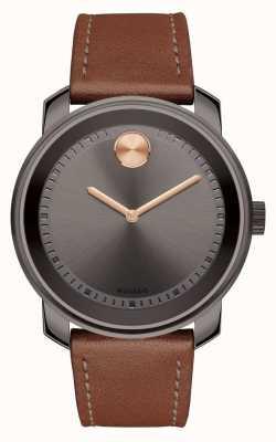 Movado 大胆的男士棕色皮革表带灰色表盘 3600378