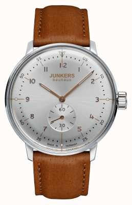 Junkers 男士bauhaus handwound棕色真皮表带银色表盘 6030-5