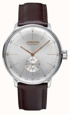 Junkers 男士bauhaus handwound真皮表带银色表盘 6032-5