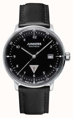 Junkers 男士bauhaus黑色真皮表带黑色表盘 6046-2