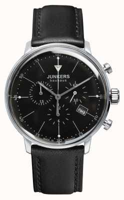 Junkers 男士bauhaus计时码表黑色真皮表带黑色表盘 6088-2