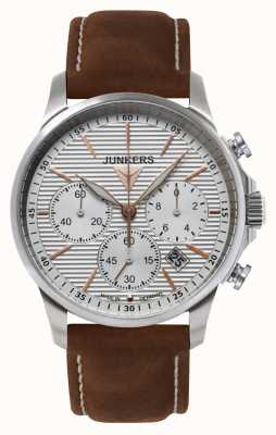 Junkers 男士tante ju计时码表棕色真皮表带银色表盘 6878-4