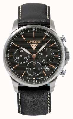 Junkers 男士tante ju计时码表黑色皮革表带黑色表盘 6878-5