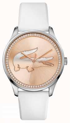 Lacoste 女人白色硅胶表带玫瑰金石镶表盘 2000969