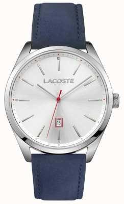 Lacoste 男士圣地亚哥蓝色真皮表带银色表盘 2010909