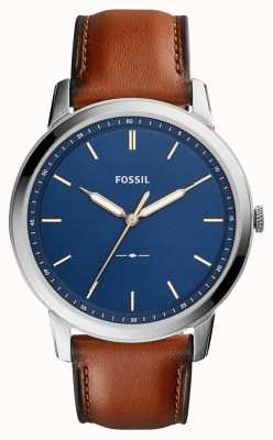 Fossil 男士极简棕色皮革 FS5304