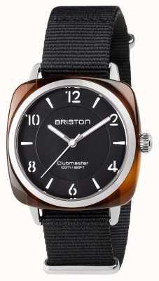 Briston 男女皆宜的clubmaster别致的黑醋酸纤维钢与北约表带 17536.SA.T.1.NB