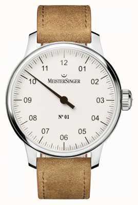 MeisterSinger 男士号码1经典的手卷伤的白色 AM3301