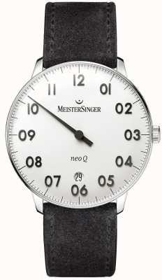 MeisterSinger 男士形式和风格新q不锈钢和黑色麂皮 NQ901N