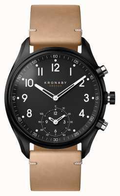 Kronaby 43mm顶尖蓝牙黑色pvd手机壳/米色真皮智能手表 A1000-0730