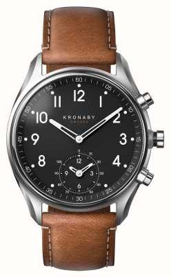 Kronaby 43毫米顶尖蓝牙棕色皮革智能手表 A1000-0729