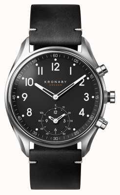 Kronaby 43毫米顶点蓝牙黑色皮革表带a1000-1399 S1399/1