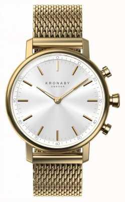 Kronaby 38毫克克拉蓝牙黄金网状表带smartwatch A1000-0716