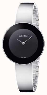 Calvin Klein 女人别致的不锈钢手镯黑色表盘 K7N23C41