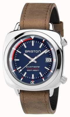 Briston 中性clubmaster潜水员拉丝钢皮革自动海军 17642.PS.D.15.LVBR