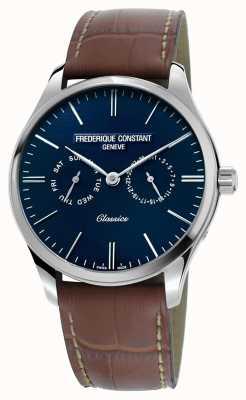 Frederique Constant 男士经典石英棕色真皮表带蓝色表盘 FC-259NT5B6