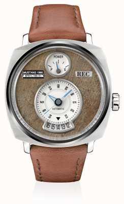 REC P51-02野马自动棕色皮革表带