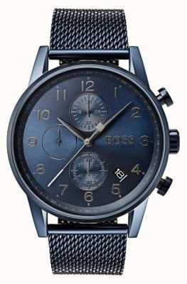 Boss 男装导航蓝色计时码表网金属手表 1513538