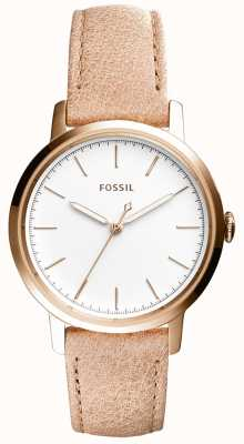 Fossil Womans利米色米色真皮表带 ES4185
