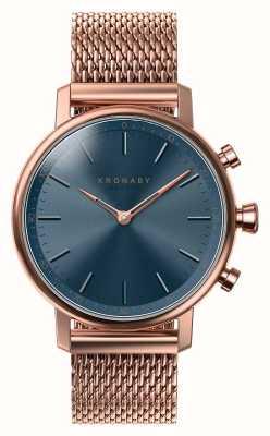 Kronaby 38毫克克拉蓝牙玫瑰金蓝色表盘智能手表 A1000-0668