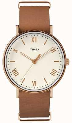 Timex 男女通用南方41毫米奶油表盘玫瑰金色调表壳 TW2R28800