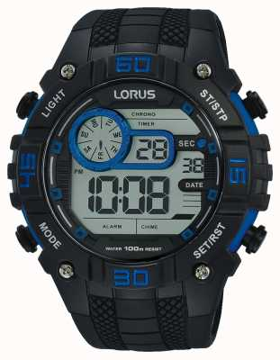 Lorus 男士数字手表黑色和蓝色 R2353LX9