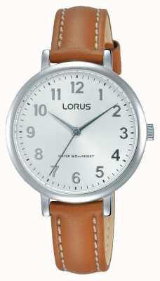 Lorus 女人柔软的白色表盘棕褐色皮革表带 RG237MX7