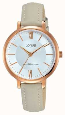 Lorus 女士sunray拨号软灰色皮革表带 RG264LX7