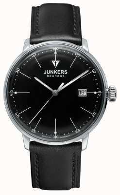 Junkers 男士包豪斯黑色表盘黑色皮革表带 6070-2